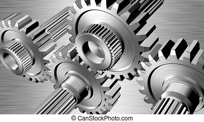 Gears - Rotating gears on steel background