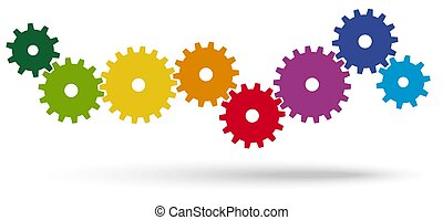gears for cooperation symbolism - colored gears for...