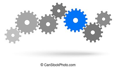 gray gears for cooperation or teamwork symbolism with blue leader