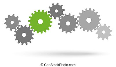 gray gears for cooperation or teamwork symbolism with green leader