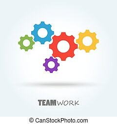 gears for team work symbolism - colored gear wheels for team...
