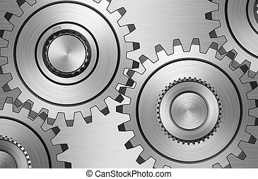Gears - Four gears on steel background