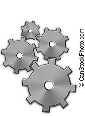 Gears - Four steel gears connecting on white background