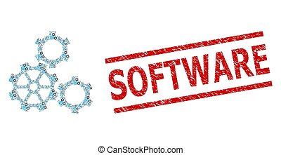 Gears Fractal Composition of Gears Items and Grunge Software Seal Stamp