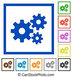 Gears framed flat icons