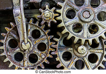 gears from old industrial mechanism closeup