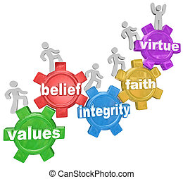 Several people walking or marching up gears with the words Values, Belief, Integrity, Faith and Virtue to illustrate the qualities or characteristics of living a faith filled or religious life