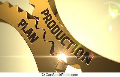 gears., gouden, fabriekshal, plan