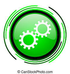 gears green circle glossy icon