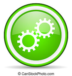 gears green glossy icon on white background
