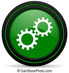 gears green icon options sign