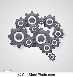 gears., hjärna, vektor