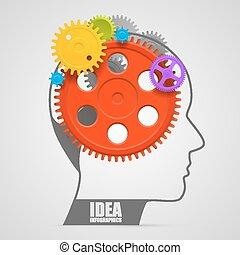 gears., huvud, vektor, illustration