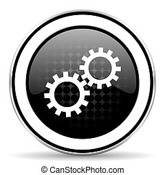 gears icon, black chrome button, options sign