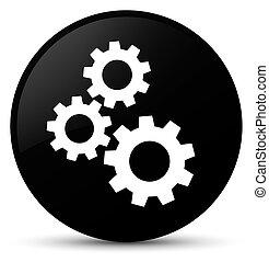 Gears icon black round button