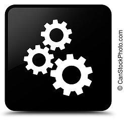 Gears icon black square button