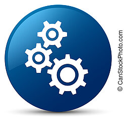 Gears icon blue round button
