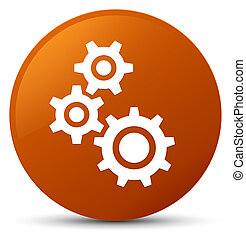 Gears icon brown round button