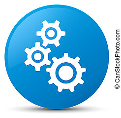 Gears icon cyan blue round button