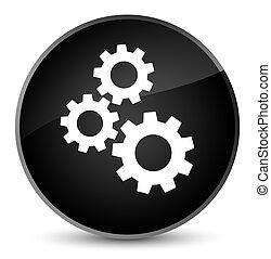 Gears icon elegant black round button