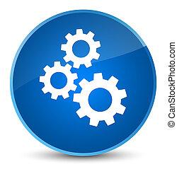 Gears icon elegant blue round button