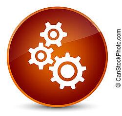Gears icon elegant brown round button
