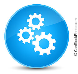 Gears icon elegant cyan blue round button