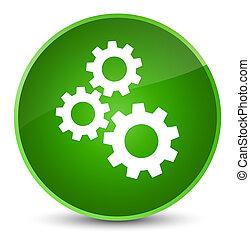 Gears icon elegant green round button