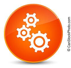 Gears icon elegant orange round button