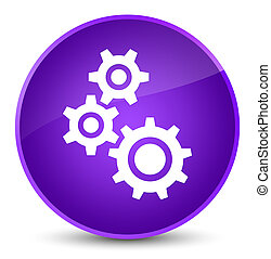 Gears icon elegant purple round button