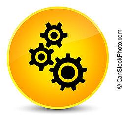 Gears icon elegant yellow round button