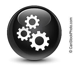 Gears icon glassy black round button