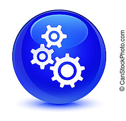 Gears icon glassy blue round button