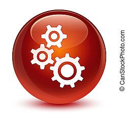 Gears icon glassy brown round button