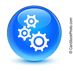 Gears icon glassy cyan blue round button