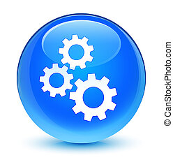 Gears icon glassy cyan blue round button
