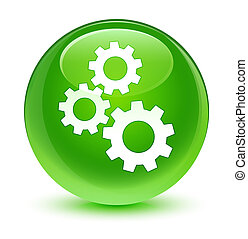 Gears icon glassy green round button