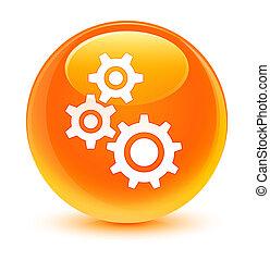 Gears icon glassy orange round button