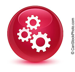 Gears icon glassy pink round button