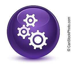 Gears icon glassy purple round button