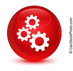 Gears icon glassy red round button