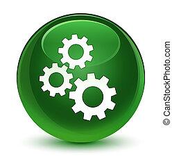 Gears icon glassy soft green round button