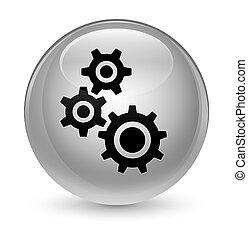 Gears icon glassy white round button