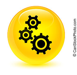 Gears icon glassy yellow round button