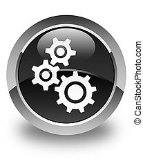 Gears icon glossy black round button