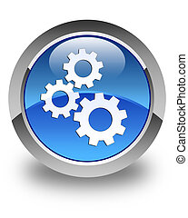 Gears icon glossy blue round button 2