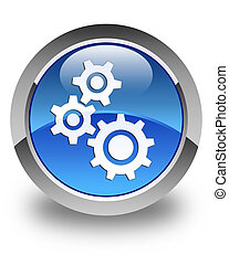 Gears icon glossy blue round button