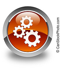 Gears icon glossy brown round button