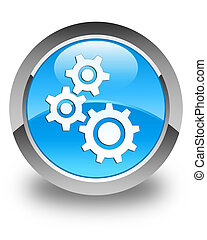 Gears icon glossy cyan blue round button