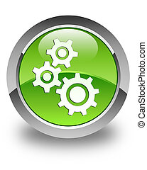 Gears icon glossy green round button